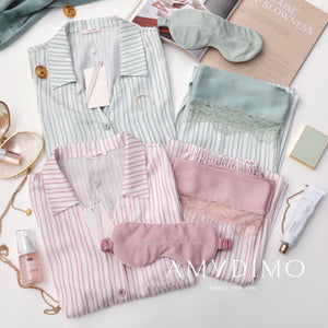 Striped Satin Pajama Set of Three - Catstone NYC