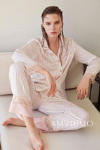 Load image into Gallery viewer, Striped Satin Pajama Set of Three - Catstone NYC