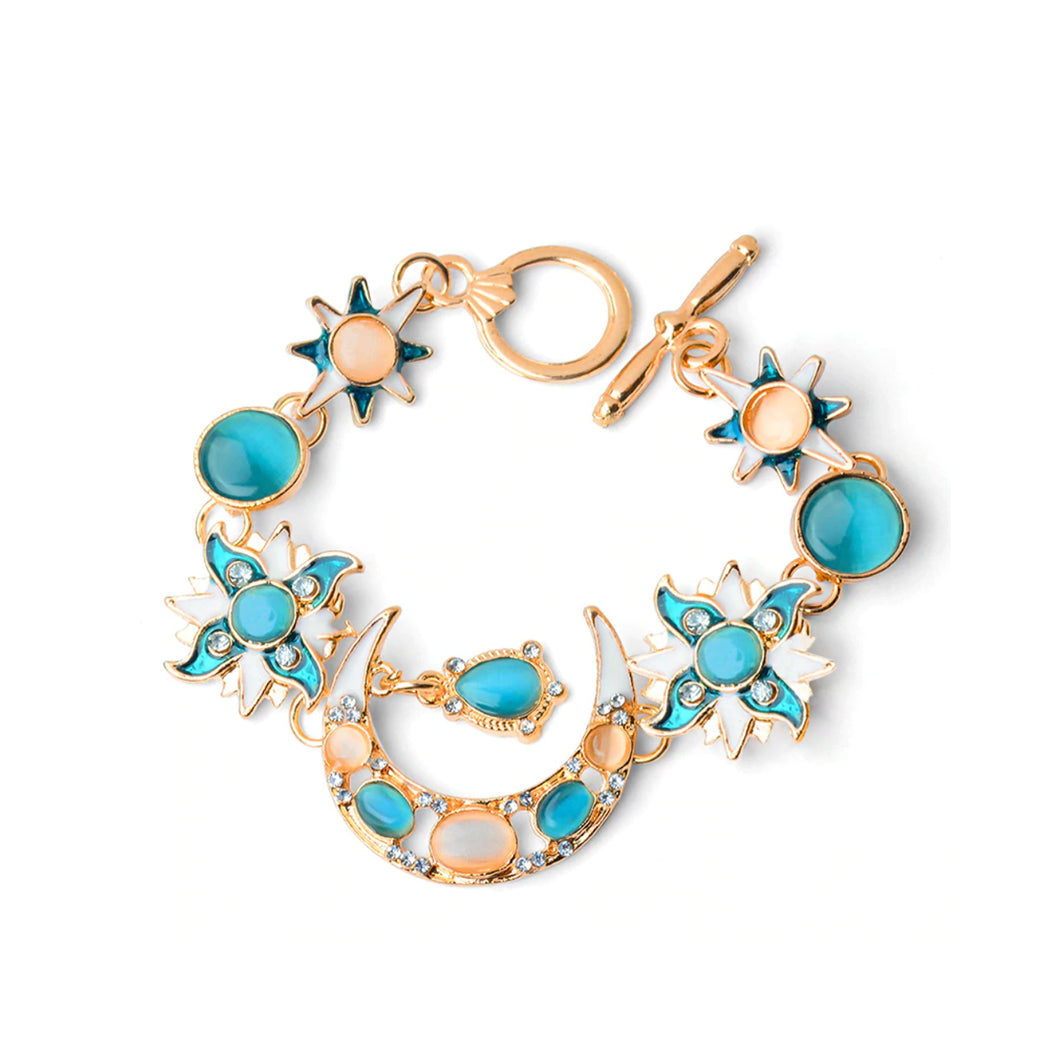 Cresent Moon Sun and Star Charm Bracelet - Catstone NYC