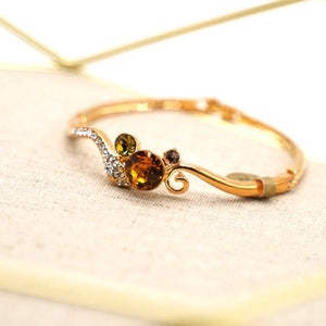 Brown Quartz Gold Plated Bangle Bracelet - Catstone NYC
