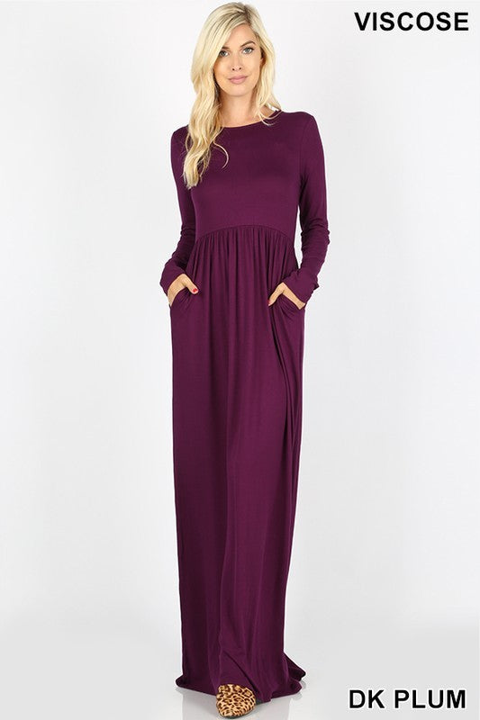 Maxi Dress Solid Pocket Long Sleeve