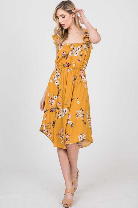 Gauze Flower Print Dress