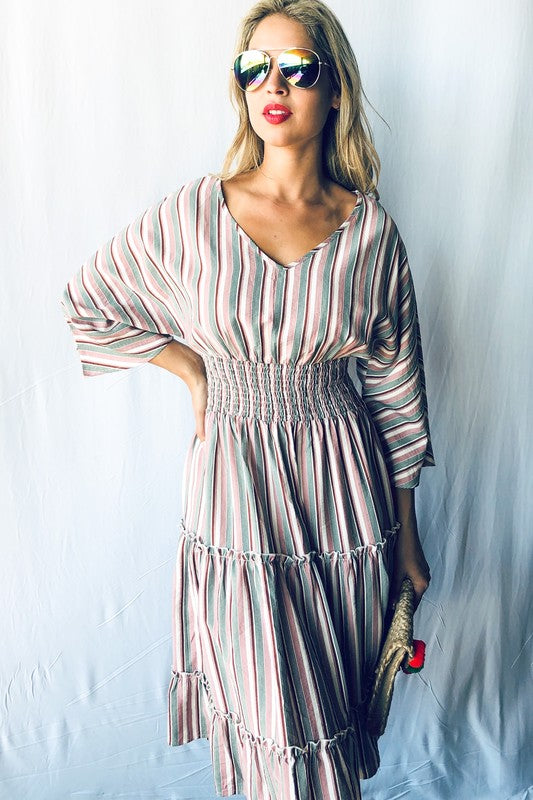 Smocking and Trimmed Casual Dress