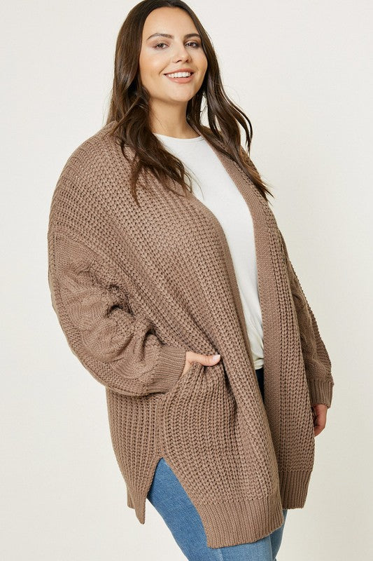 Cable Knit Cardigan-curvy