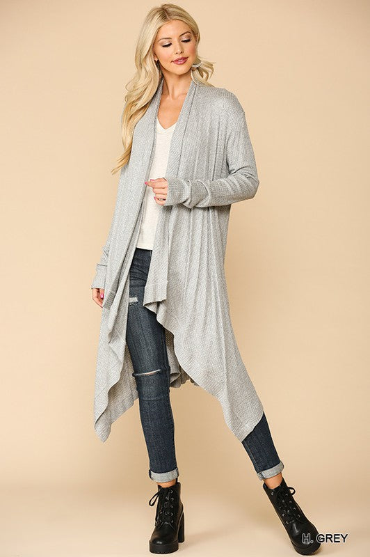 Long Sleeves Jersey Lapel Cardigan