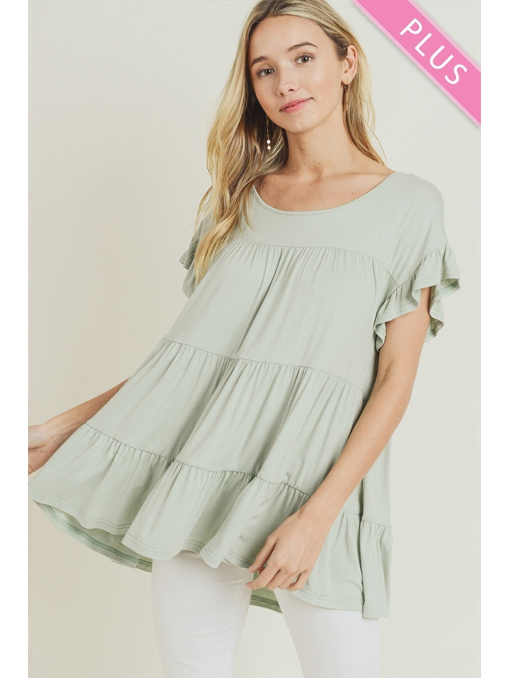Tiered Ruffle Top-Curvy