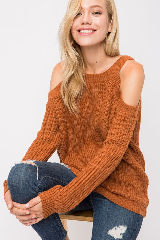 Cold Shoulder Ribbed Sweater