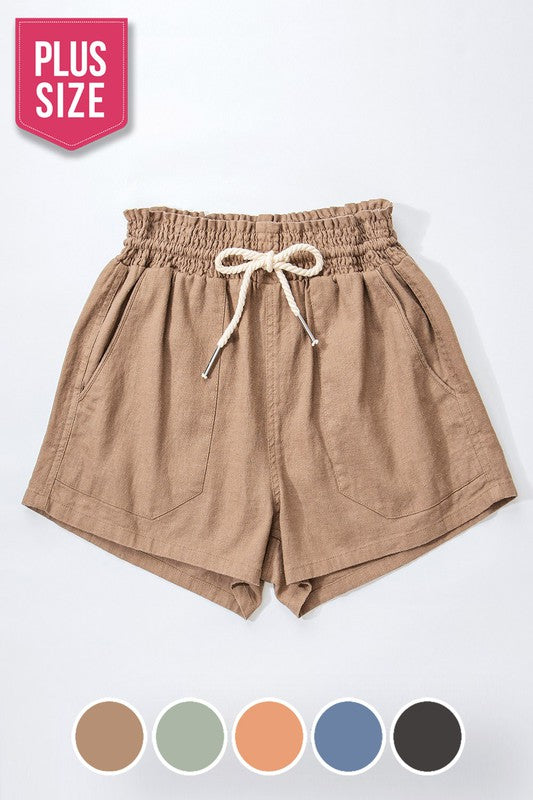 PLUS ROPE DRAWSTRING LINEN SHORTS