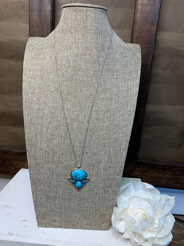 Turquoise Metal Pearl Chain Necklace