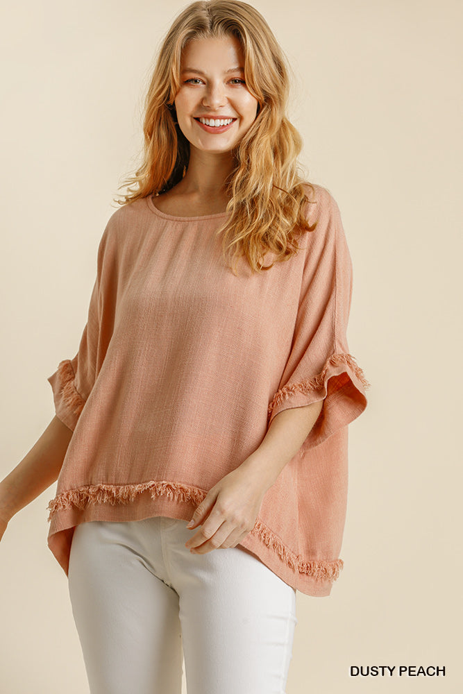 FRAYED Linen Top