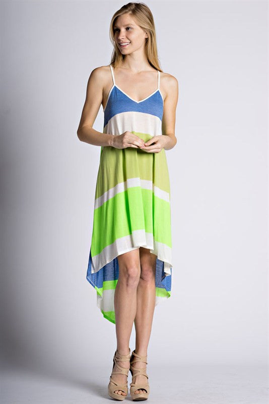 Blue & Green High-Low Tank Beach Dress - Blush Boutique Bremen
