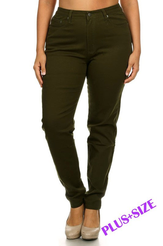 Olive Skinny Jeans (Curvy)
