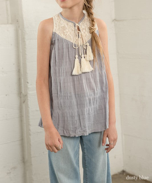 Tweens Dusty Blue Tassel Lace Tank