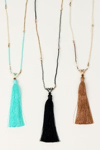 Seed Beads & Silk Tassel Pendant Necklace
