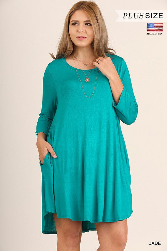 Jade T-Shirt Dress by Umgee (Curvy) - Blush Boutique Bremen