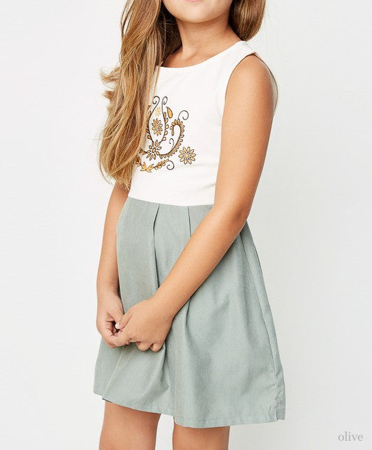 Girls Sage Pleated Dress