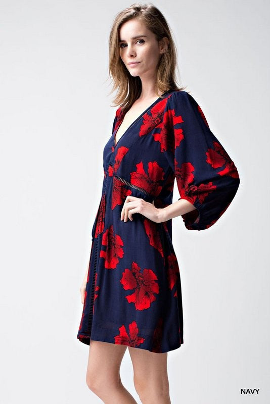 Floral Babydoll Dress with Bubble Sleeves