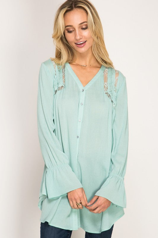 Button Tunic with Lace & Mesh Cutout, 2 Colors - Blush Boutique Bremen
