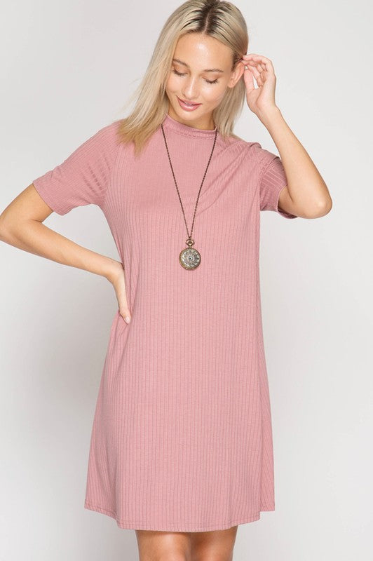 1/2 Sleeve Ribbed A-Line Dress - Blush Boutique Bremen