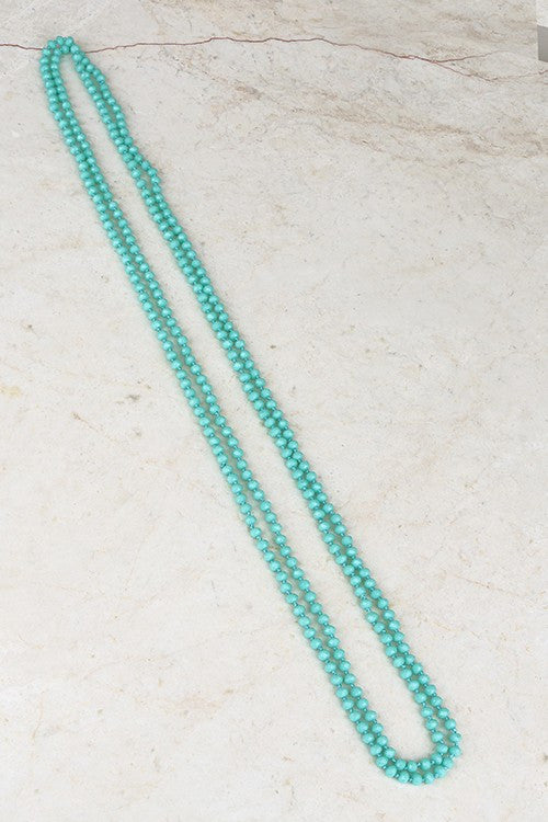 "Classic Colored Glass Bead & Knotted Thread Necklace (80""), Multiple Colors - Blush Boutique Bremen"