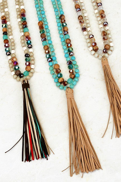 Natural Stone & Color Crystal Beaded Necklace with Suede Tassel, 3 Colors