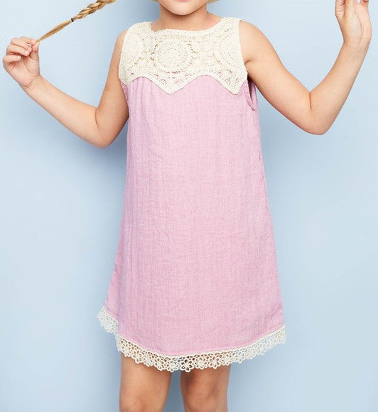 Girls Sleeveless Dress with Crochet Detail
