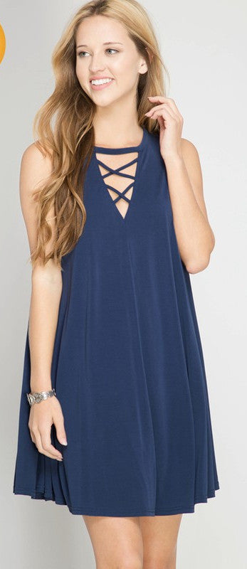 Sleeveless Swing Dress with Criss Cross Detail (Navy & Slate)