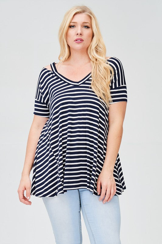 Striped V- Neck Top with Shoulder Cut Out (Curvy)