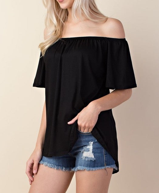 Off Shoulder High- Low Top (Black & Raspberry)