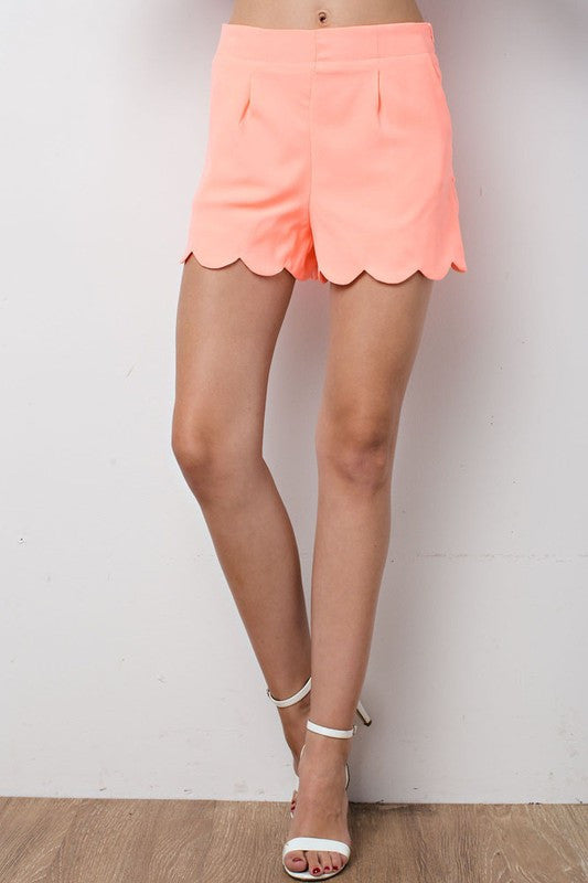 Neon Coral Scalloped Hem Shorts