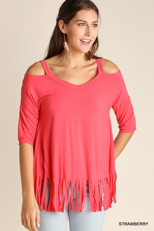 Cold Shoulder Fringe Top (Strawberry & Ash) - Blush Boutique Bremen