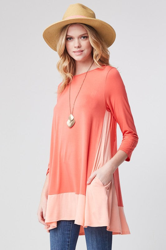 Color Block Tunic Dress hidden pocket - Blush Boutique Bremen
