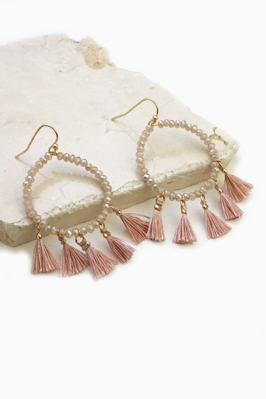 Beaded Ring w/ Tassel Earring - Blush Boutique Bremen