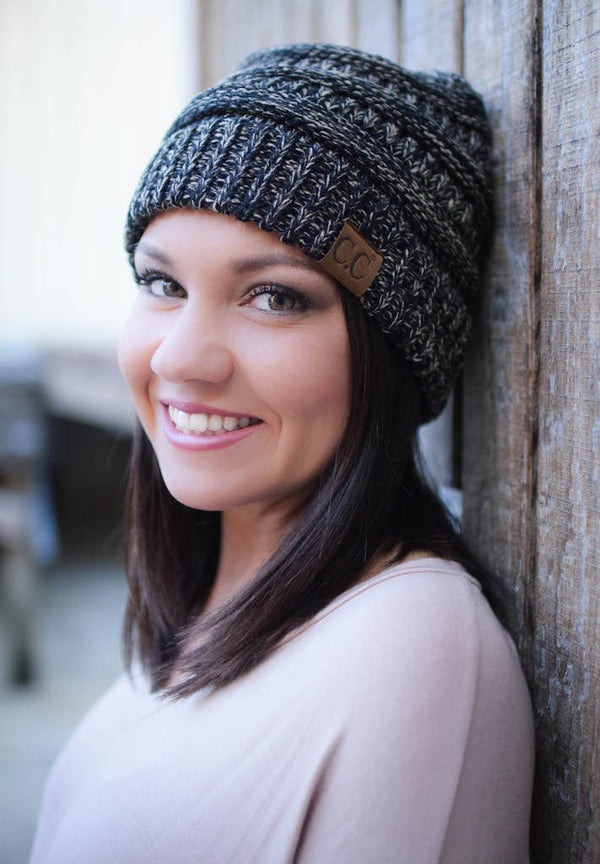 CC Two-Tone Knit Beanie, Multiple Colors - Blush Boutique Bremen