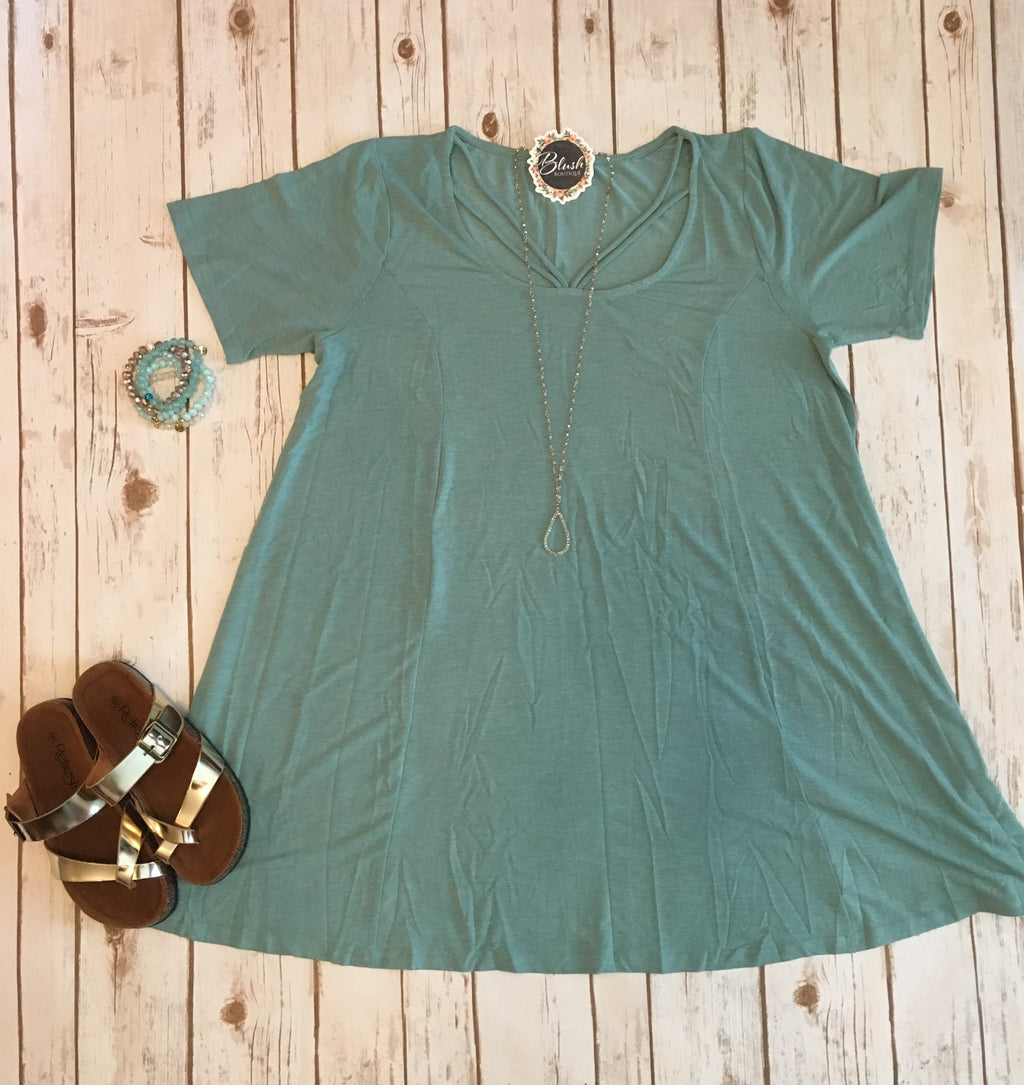 Seafoam Green A-Line Dress (Curvy)