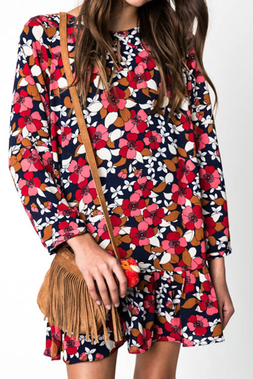 Tweens Floral Printed Long Sleeve Dress
