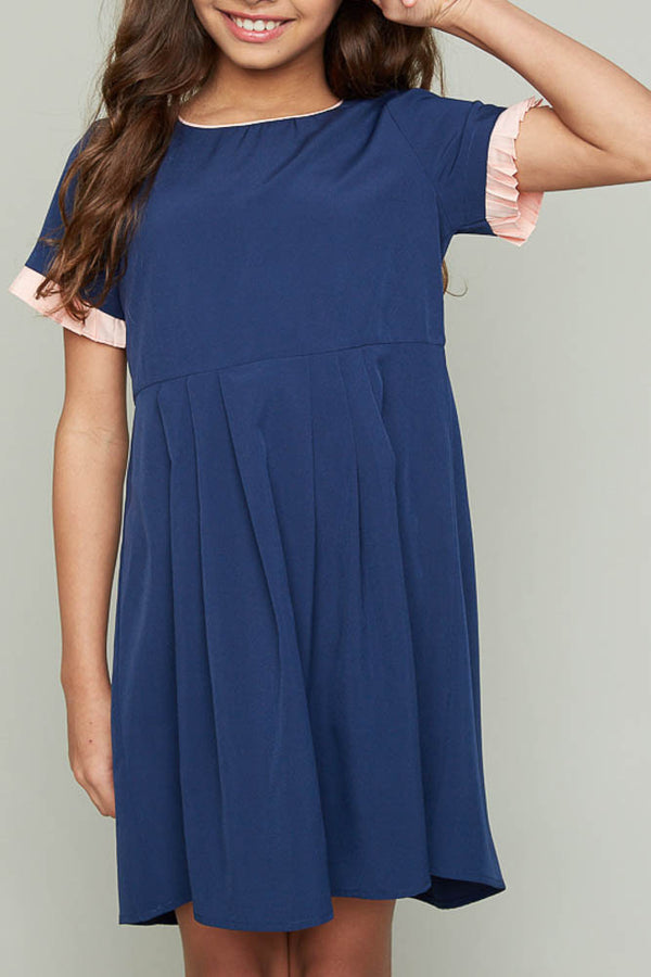 Tweens Navy Pleated Babydoll Dress