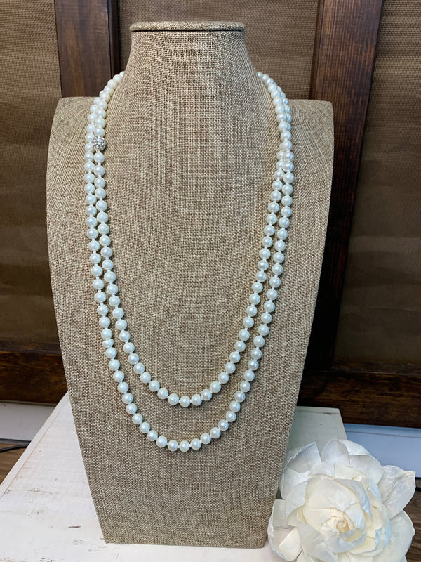 "80"" Pearl Handknotted Wrap Necklace"