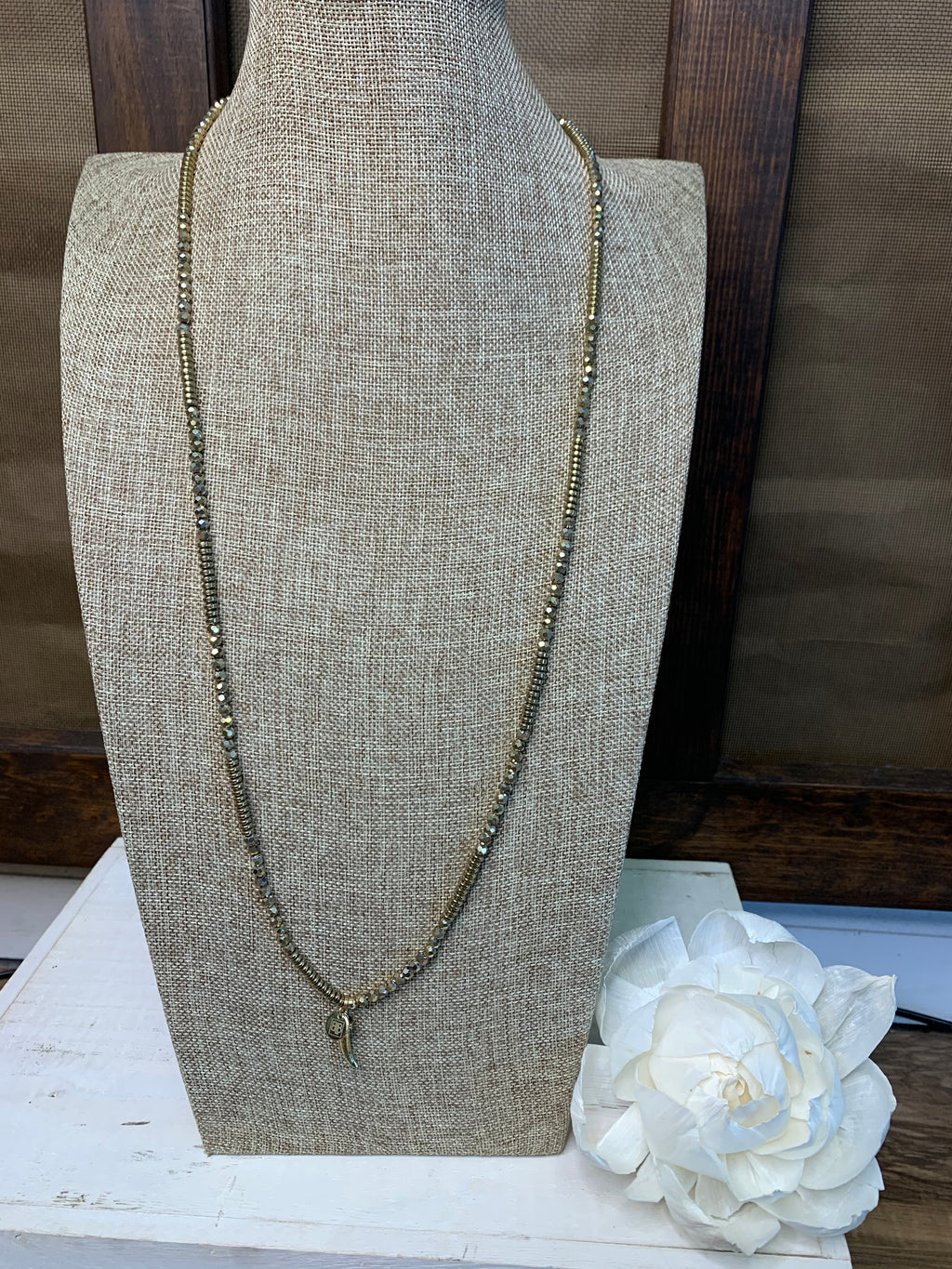 Gold Metal Rhinestone Wrap Necklace