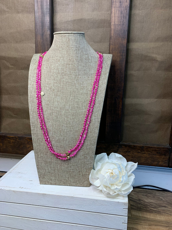 "80"" Hot Pink Handknotted Wrap Necklace"
