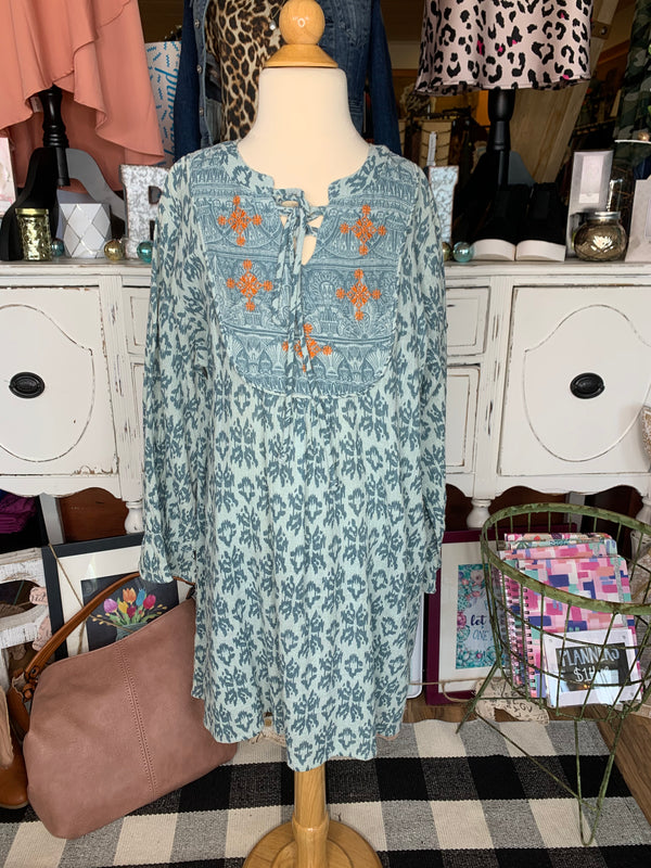 Tweens Teal Printed Tunic Dress