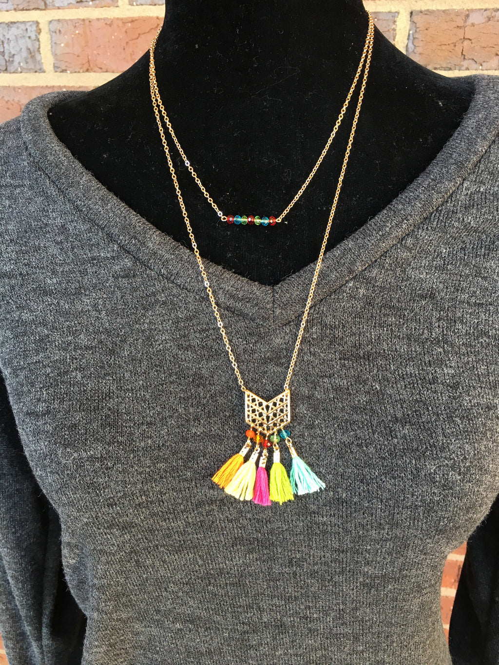 Two Layer Fiesta Necklace with Matching Earrings