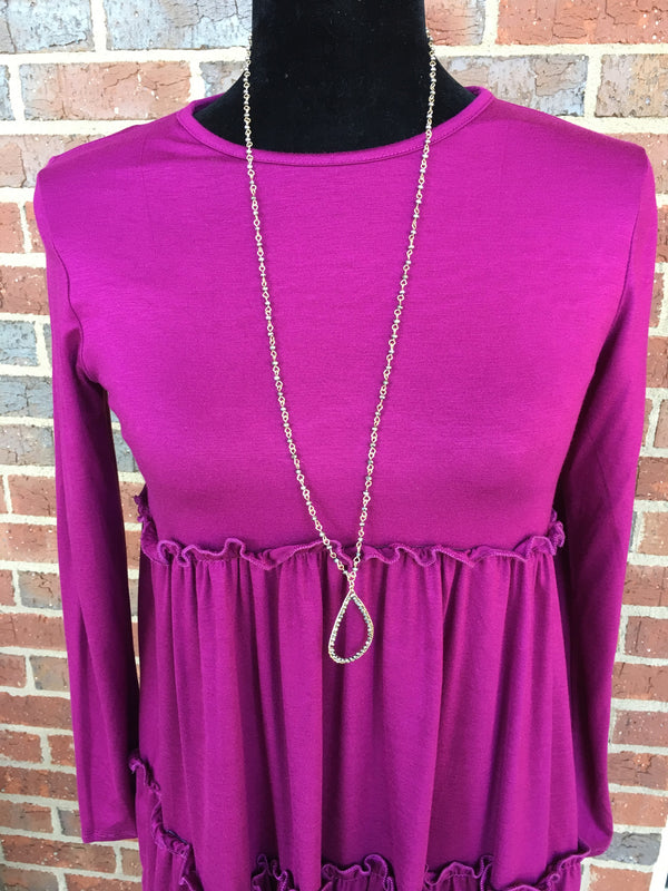 Dark Grey Beaded Teardrop Necklace - Blush Boutique Bremen