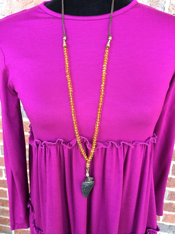 Beaded Y Necklace with Arrowhead - Blush Boutique Bremen
