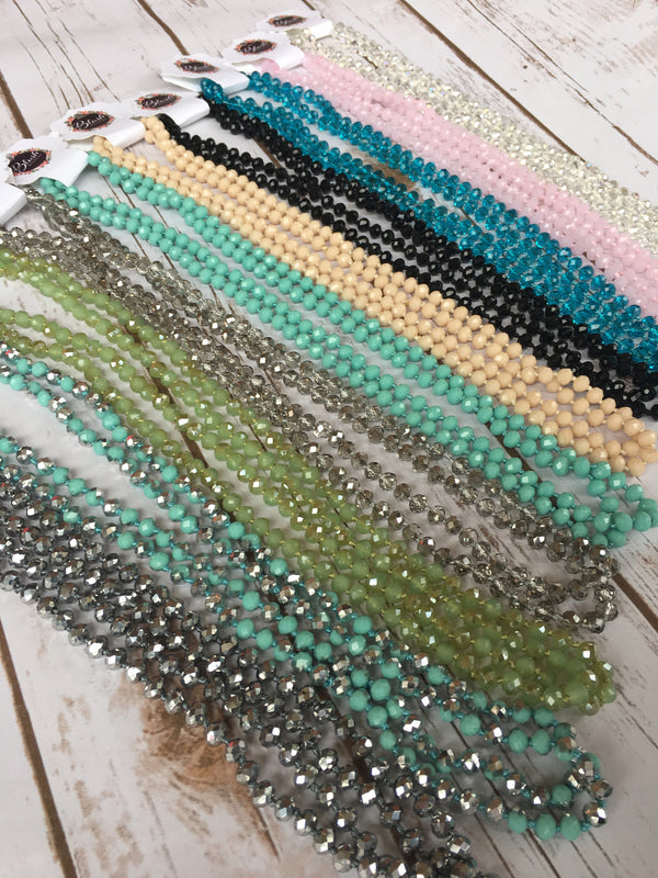 "Colored Glass Bead & Knotted Thread Necklace (60""), Multiple Colors - Blush Boutique Bremen"