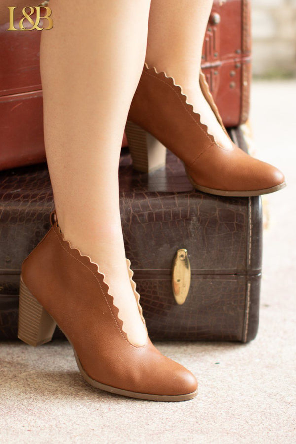COGNAC SCALLOP EDGE SLIP ON ANKLE BOOTIES
