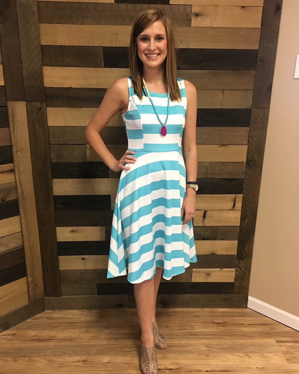 Aqua Stripe Fit-N-Flare Dress - Blush Boutique Bremen