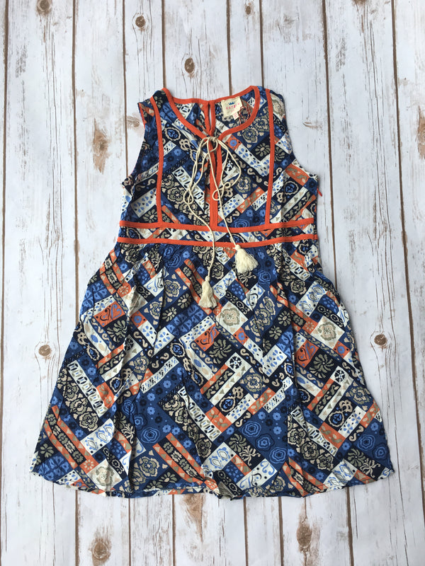 Girls Blue Mix Printed Sleeveless Dress