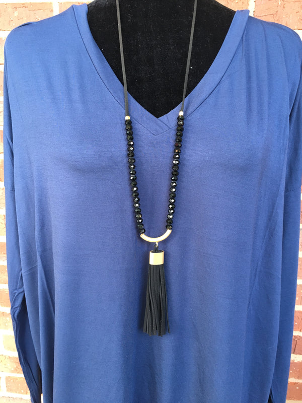 Black Crecsent Necklace with Leather Tassel - Blush Boutique Bremen