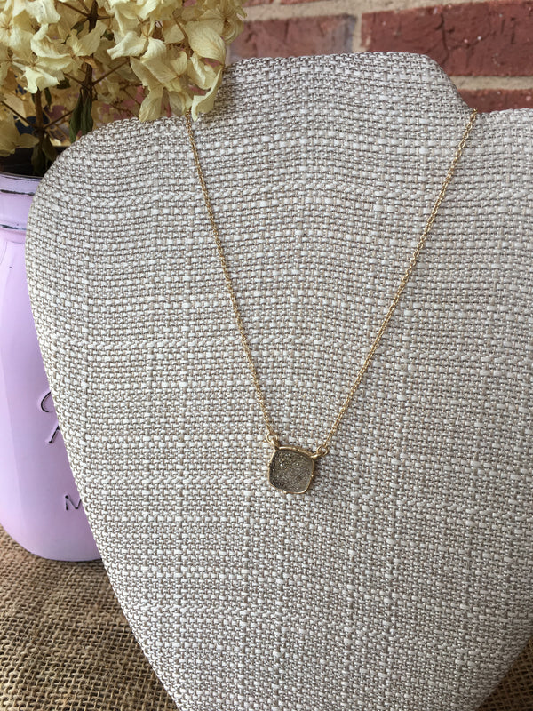 Grey Square Druzy Stone Necklace